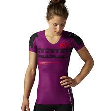 Reebok CrossFit Short Sleeve Compression Top Gym Training Purple Wicking Tee