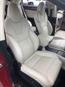 17 TESLA MODEL X 100D OEM CREAM LEATHER SEATS FRONT 15-19