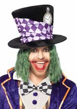 Mad Hatter Top Hat Black Velour Oversized Wire Brim Character Costume Hat