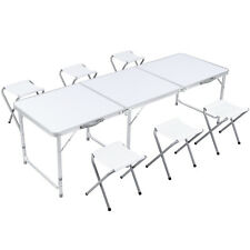 6Ft Portable Folding Table w/ 6 Stools Outdoor Camping Picnic Home Party Table