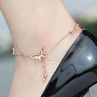 Fashion Silver/Gold Women Butterfly Love Chain Anklet Bracelet Charm Jewelry Hot
