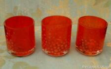 Set of 3 Red Votive Candle Holders Mikasa Glisten Holiday Frosted Dots