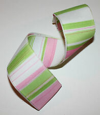 RIBBON with PINK & GREEN STRIPES, 1 Mtr, Gifts/Cards/Bows/Girls/White/Grosgrain