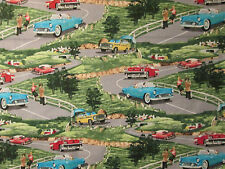 Vintage Cars Scenic 1950's 60's Cars Cotton Fabric FQ