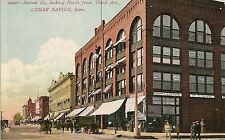 Second Street Looking North From Third Avenue in Cedar Rapids IA Postcard