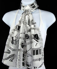 Musical Instruments Womens Scarf Music Concert Scarfs Gift Her White Scarves New