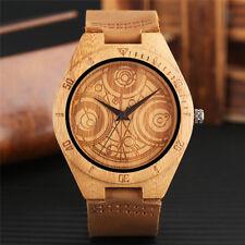 Wooden Engraved Watch Dr. Who Design Men Analog Quartz Wrist Watch Soft Leather