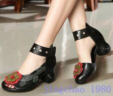 Womens Flower Round toe Ankle Strap Leather Pumps Mid Heeled Flats Casual Shoes