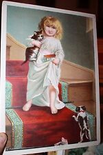 Victorian Print young girl walking down stairs with cat and puppy Family Cares
