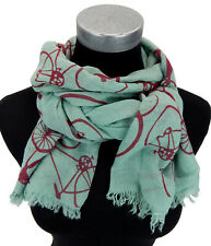 Ella Jonte Schal türkis rot Fahrrad Motiv 100% Baumwolle weicher Damenschal