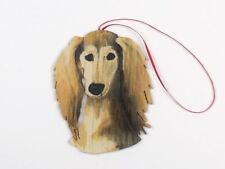 Beautiful Hand Painted Die-cut Wood Saluki Dog Christmas Ornament