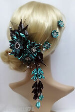 Franzözische Haarspange mit 3 Curlis Haarschmuck Kanzashi Haarblüten Stoffblumen