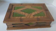 "Jewelry Box Wood MELE Green Felt Organizer 10""x 6.5"" Vintage Mid Century Modern"