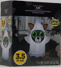 Halloween Gemmy 3.5 ft Light Up Black Cat in Ghost Costume Airblown Inflatable