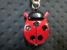 New Red Ladybug Clip Quartz Watch 5 Black Dots White Dial Ladybugs