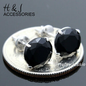 925 STERLING SILVER 9MM BLACK ROUND ICY CZ SCREW BACK STUD EARRING*E88