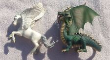 Lot of 2 Schleich mystical fantasy figures, Pegasus horse, green winged dragon