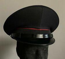 Italian Military Black Officer's Peaked Visor Cap w/ Red Pinstripe & Neck Strap