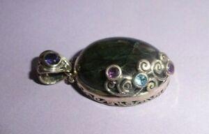 Solid Sterling Silver 925 LABRADORITE BLUE TOPAZ AMETHYST Oval FILIGREE Pendant