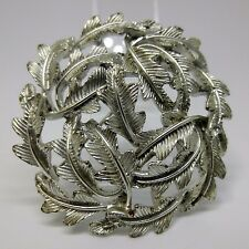 Large Vintage Brooch Silver Tone Circle of Leaves  Brooch Pin