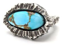 American Modernist ADAM-VINCENT Sterling Silver ROYSTON Turquoise Ring Sz 6.5