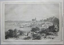 1866 PIRANO (PERANO) veduta Piran xilografia L'Illustrazione Universale Sonzogno