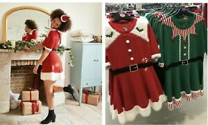 Primark Christmas Santa or Elf Dress Jumper Ladies XMAS JUMPER DRESS