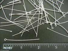 400 Eye pins 51mm (2 inch), Silver Plated, 0.7mm wire 21 gauge, zz