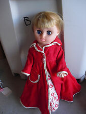"Vintage 1960s Sm Marked Plastic Vinyl Blonde Hair Character Girl Doll 15"" Tall"