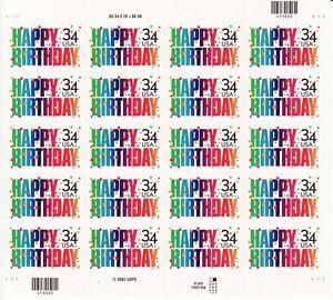 HAPPY BIRTHDAY STAMP SHEET -- USA #3558 34 CENT