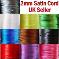Satin Cord 2mm Rattail Knotting Thread 10m 30m 50m Sewing Craft Bracelet Making