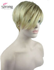 StrongBeauty Short Straight Blonde Highlighted Side Swept Bangs Synthetic Wig