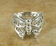 PRETTY .925 STERLING SILVER FILIGREE BUTTERFLY RING size 8  style# r0627