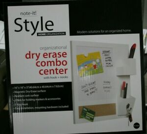 """Magnetic Dry Erase Combo Center with Hooks and Nooks, 16"""" x 16"""" x 3"""" White"""