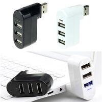 Fashion 3 Ports Hub USB 2.0 Mini Rotate Splitter Adapter for PC Notebook Laptop