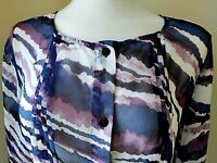 Chicos Purple Navy White Stripe Sheer Button Front Roll Tab Sleeve Blouse Size 1