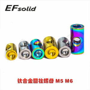 4pcs M5 M6 Titanium Alloy Cylinder Nuts for Motorcycle Bicycle Bike Bolts Screws
