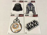 4 Disney Star Wars Fabric Embroidered Iron On Appliques R2-D2, BB-8,Darth Vadar