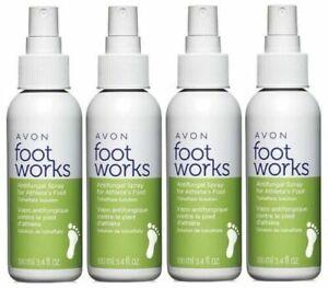 Lot of 4 - Avon Foot Works Healthy Antifungal Foot Spray Pump Bottle
