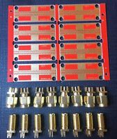 RF Experimenter's PCB panel SET of 8 pcs with a 50 Ohm CPW + SMA connectors