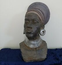 Large African American Head Bust Lady Statue Sculpture Beautiful Artwork