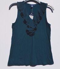 Chaps, Size Small, Ruffle collar sleeveless top, Dark green