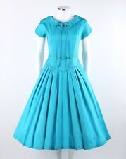 Vtg. c.1950's Blue Belted Short Sleeve Pleated Skit Party Dress