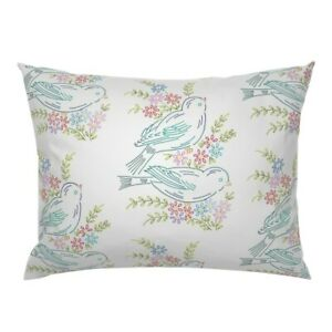 Sparrow Birds Pastel Floral Embroidery Look Vintage Pillow Sham by Roostery