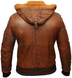Mens Biker Vintage Motorcycle Tan Cafe Racer Hooded Fur Leather Jacket