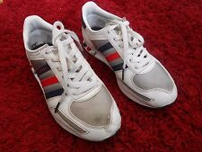 ADIDAS  L.A.TRAINERS UK SIZE 4.5 - WHITE / BLUE / RED - IN GOOD CONDITION