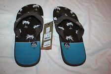 REEF Flip-Flop Sandal Thongs *HT Print 2076 Blue/Brown/Palm *Size 8 *New