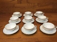 Vtg. Noritake 5594 SILVERDALE Cups and Saucers (9 Sets) White w/Platinum Trim