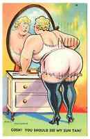 1961 Postmarked Postcard Risque Comic Gosh You should see my sun tan underwear