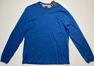 NEW Left Coast Tee Donner Pass Long Slv Crew Neck Pocket Cotton Blue T-Shirt XL